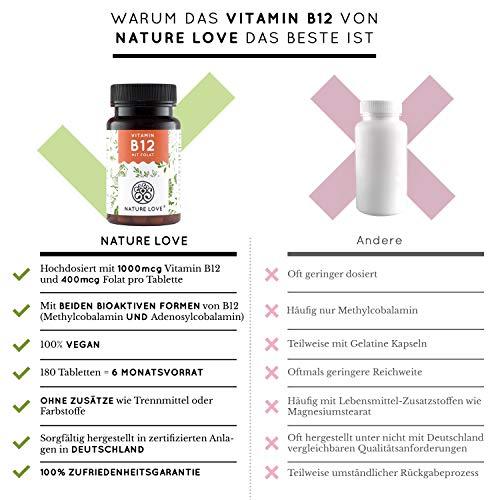 NATURE LOVE® Vitamin B12 – Vergleichssieger 2019* – 1000µg, 180 Tabletten. Beide aktive Formen Adenosyl- & Methylcobalamin + Depot + Folsäure als 5-MTHF. Vegan, hochdosiert,