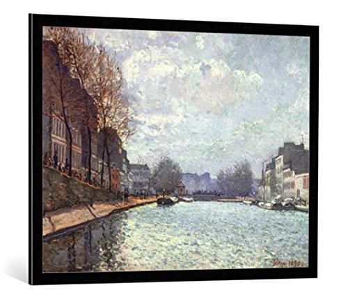 kunst für alle Bild mit Bilder-Rahmen: Alfred Sisley Vue du Canal Saint-Martin Paris - dekorativer Kunstdruck, hochwertig gerahmt, 100x75 cm, Schwarz/Kante grau