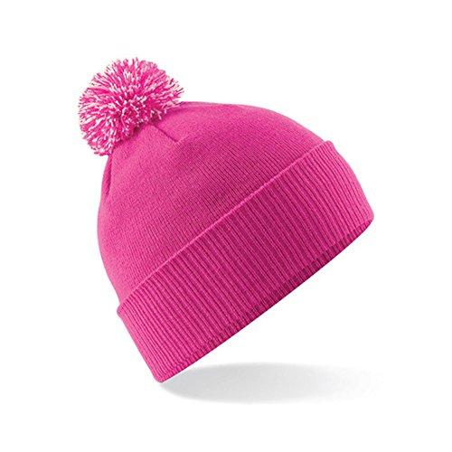 Beechfield Unisexe hiver Bonnet à pompon Snow Star en contraste couleurs B450 - fuchsia/off white
