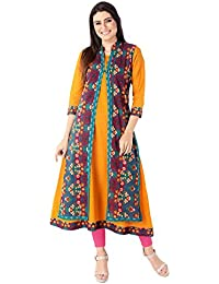 M&D 3/4 Sleeve Mustard Pure Cotton Double Layer Jacket Kurti For Women For Casual,party Or Festive Wear