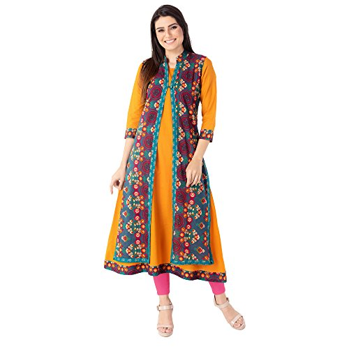 M&D 3/4 Sleeve Mustard Pure Cotton Double Layer Jacket kurti for women...