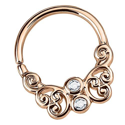 Piersando Universal Piercing Ring Continuous für Septum Tragus Helix Ohr Nase Lippe Brust Intim Tribal Nasenpiercing mit Schmetterling Kristall Rosegold - Antik-ring-set