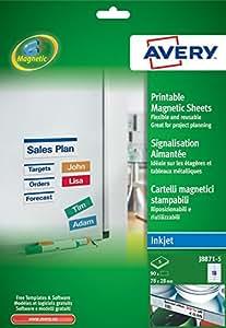 Avery - J8871-5 - 90 Etiquettes Magnétiques Imprimables Format 78 x 28mm