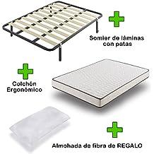Pack Colchón eco18 + somier basic con patas + almohada de regalo 80x190