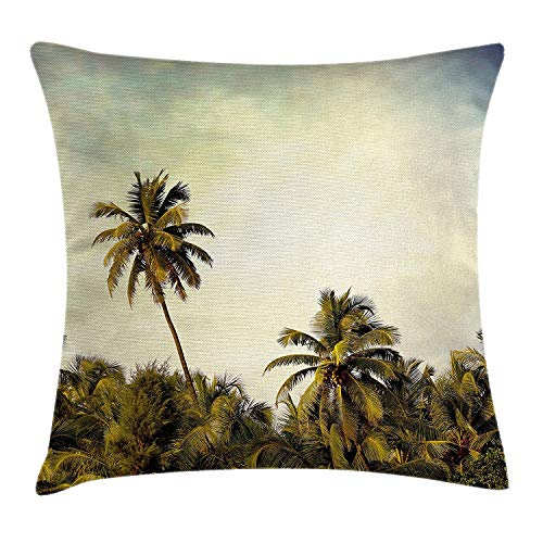 Palm Tree Decor Throw Pillow Cushion Cover by, Jungle Tree Branch Backdrop with Skyline Pacific Island Landscape Picture, Decorative Square Accent Pillow Case, Pale Green24 - Pacific Black Duck