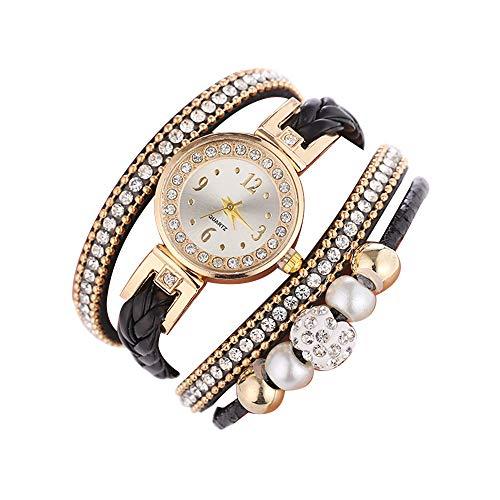Makefortune ⌚ Damen Quarzuhren Unique Analog Sale Ausverkauf Damen Armbanduhr Damenuhren für Damen, rundes Zifferblatt Lederband Modische Boho Braid Armband Armbanduhr -