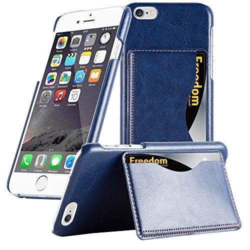 Apple iPhone 6 / 6S (4.7) Hülle in SCHWARZ von Cadorabo - Handy-Hülle Backcover mit Karten-Fach , Standfunktion und Magnet-Verschluss (4.7) Case Cover Schutz-hülle Etui Tasche Klapp-Style in SCHWARZ BLAU