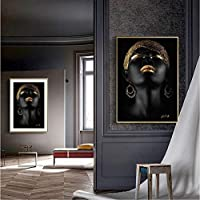 mmbj Golden Makeup Home Wall Art Canvas Prints Black Girls Art Canvas Paintings African Wall Pictures For Living Room Decor 80x100cm