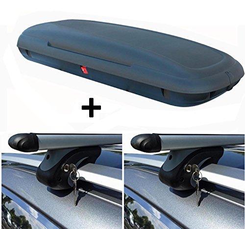 VDP VDP-CA480 Dachbox 480 Liter Carbon Look abschließbar + Alu Relingträger XL135 kompatibel mit Nissan Qashqai +2 08-13 bis abschließbar