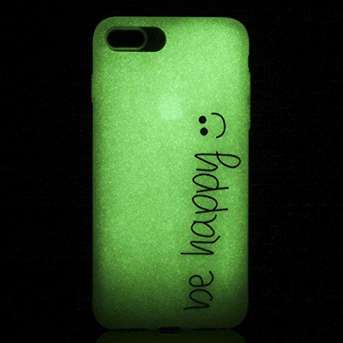 Coque iPhone SE/5S/5 Silicone Gel Housse [Avec Gratuit Protections D'écran],CaseHome [Nuit Lumineux Effet] Fluorescent Verte Lumière dans le Noir Ultra Fine Transparente avec Motif Mode Unique Ajustem Smiley Emoji (Be Happy)