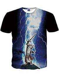 Yonbii Hommes Lightning Cat 3D imprimé UNISEX Casual T-shirt Jersey Tops Tee