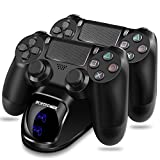 PS4 Controller Charger ECHTPower DualShock 4 Charger Dock Dual Charger with Charging Station for Sony Playstation PS4 / Slim / Pro Wireless with Charging Cables and Elegant LEDs (Blue&Orange LED)