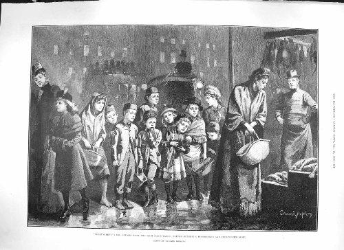 Old Original Antik Viktorianisch Druck Hopkins 1889Fischschere Poulterer Shop Armen Kinder 821p195