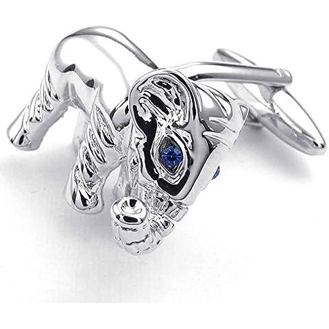 AnaZoz Joyería de Moda Gemelos de Hombre Rodio Plateado Plata Azul Elefante Cubic Zirconia Camisas Gemelos 2pcs Gemelos Links de Hombre Joyería de