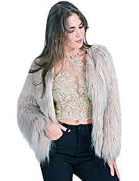 Simplee Apparel Damen Winter Warme Elegant Luxuriös Kunstfell Dick Fell  Mantel Weiß Beige Schwarz Rosa cf7801f0c9
