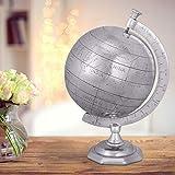 FineBuy GLOBUS Weltkugel 22 x 35 x 22 cm Aluminium Wohndekoration Silberfarben | Geschenk Einzug Wohnung Haus | Alu Globe Dekoration Wohnzimmer | Hochzeitsgeschenke Reisen Deko