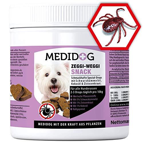 Medidog Zeggi Weggi 400g Premium Schutz Drops, Kaltgepresst und Getreidefrei, mit Schwarzkümmelöl, Kokosöl und Zistrose kompatibel mit Zeckenzange, Zeckenkarte, Zeckenschlinge, Zeckenhalsband