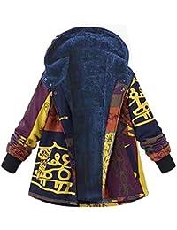 Bealeuy Damen Übergröße Wintermantel Baumwolle Leinen Mantel Nationaler Stil Jacke mit Kapuzen und Fleece-Innenseite Reißverschluss Flauschigen Pelzmantel Outwear Kapuzenjacke Beam Mund