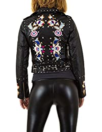 ab939cb5ea9e24 Schuhcity24 Damen Jacke Bestickte Lederjacke Imitat Bikerjacke  Motorrradjacke Sommerjacke Übergangsjacke Herbstjacke Nietenjacke