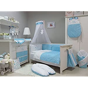 Babymajawelt-Lecho-del-beb-SET-STARSESTRELLAS-4-piezas-juego-de-cama-135100-cm-VOILE-para-cuna-14070-cm-Ropa-de-cama-bordado-protectores-de-cuna-doselbaldacchino-mosquitera-azul