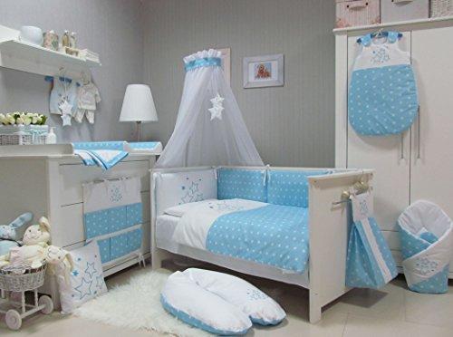 Babymajawelt® Baby Bettwäsche Set, Bett Set 4 tlg. VOILE fürs BABYBETT 70x140 cm, Bettwäsche 100x135, Nestchen, Himmel Voile (Baldachim, Moskito) (STARS blau)
