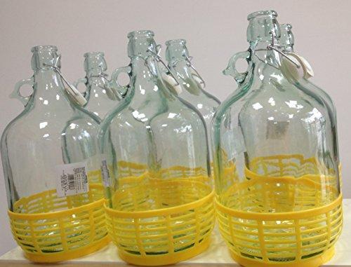 6x GLASBALLON GÄRBALLON GLASFLASCHE WEINBALLON BALLON 5L BÜGELVERSCHLUSS BDG5D
