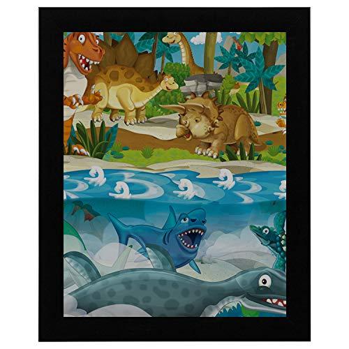 SHAOKAO Wandkunst Küche Cartoon Dinosaurier Land Meer Kinder Baby Wandkunst 17 x 13 Zoll gerahmte Print Kunstdruck Vintage Wörterbuch Buch Zeitung Seite Kunstdruck Kunst Wand