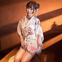 Ronshin Sleepwear Women Sexy Printing Japanese Kimono + Belt +T Pants Nightgown Cosplay Costume