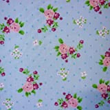 Blue Polka Dot Polycotton Fabric with Roses and Small