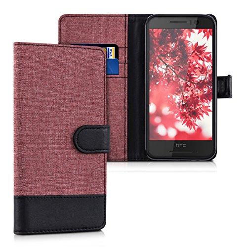 kwmobile Hülle für HTC One S9 - Wallet Case Handy Schutzhülle Kunstleder - Handycover Klapphülle mit Kartenfach und Ständer Altrosa Schwarz