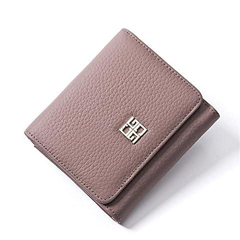 LDMB Portefeuilles Femmes Véritable Cuir Grande Capacité Trépied Portefeuille Mesdames Solid Couleur avec Coin Pocket Purse , purple taro