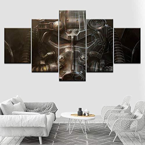 WYCQT Leinwanddrucke 5 Stücke Fallout Power Rüstung Helm Poster Wohnzimmer Wohnkultur Kein Rahmen Größe C