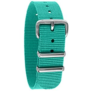Pacific Time Unisex Nylon Uhrenarmband türkis 10003