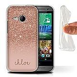Stuff4® Personalisiert Individuell Glitter Effekt Gel/TPU Hülle für HTC One/1 Mini 2/Roségold Design/Initiale/Name/Text Schutzhülle/Case/Etui