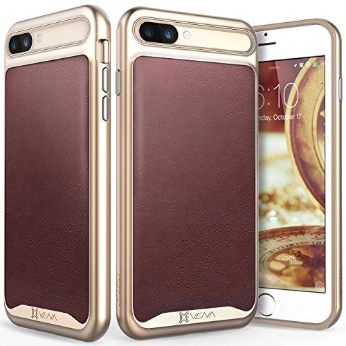 VENA iPhone 7 Plus Ledertasche, [vLuxe] [Leder Rücken   Metallisierte Knopf] Schlank Schutzhülle für Apple iPhone 7 Plus (5,5