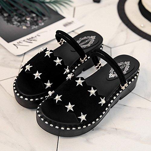 Lgk & fa sandali da donna estate due estate sandali scarpe donne indossano spessore fondo piatto rivetti muffin spiaggia scarpe scarpe da donna semplice studenti Black