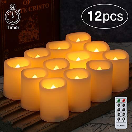 Kohree LED Kerzen, 12 pcs Flammenlose Kerzen mit Fernbedienung und Timer, Elektrische Kerze Tee Lichter inkl. Batterie, Dekoration für Weihnachten Gerburtstag Hochzeit Party - Warm Weiß