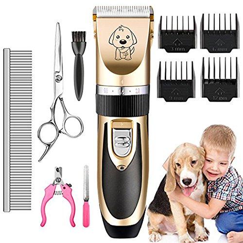 AIYOOE Haustier Grooming Clipper kits, Wiederaufladbare Drahtlose Haarschneidemaschine, Elektrische Leise Schermaschine Hund und Katze