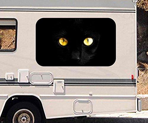 3D Autoaufkleber Katzenaugen schwarze Katze Augen Wohnmobil Auto KFZ Fenster Motorhaube Sticker Aufkleber 21A344, Größe 3D sticker:ca. 45cmx27cm