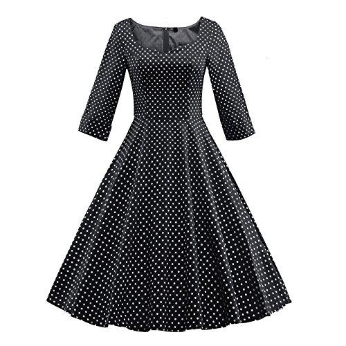 Vinmori Plus Size Vintage Polka Dot 50s ROCKABILLY Swing Pinup Hausfrau Retro Kleider Partykleid Rot/Blau/Schwarz Gr EU34-44 (Rot Plus Größe Flapper Kleid)