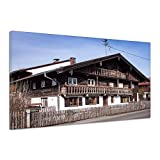 Alt Bauernhof Haus Gebäude Straße Holz Zaun Leinwand Poster Druck Bild aa4231 80x60