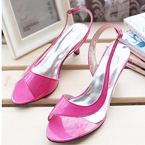 TAOFFEN Femmes Kitten Heel Sandales Mode Peep Toe Sangle De Cheville Ete Chaussures Rouge