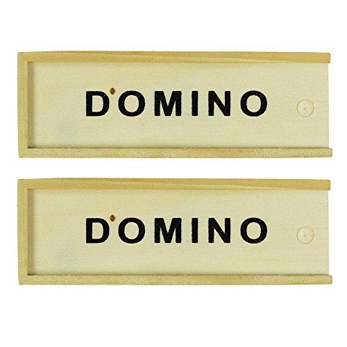 com-four Domino Spiel Set in Holzbox Zum Aufschieben 28 Steine (2 Stück)