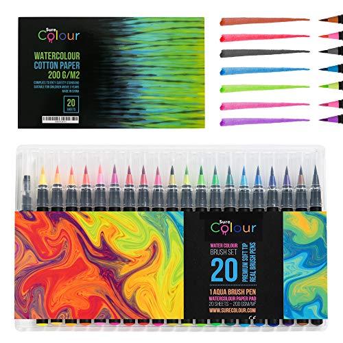 Premium-Aquarell-Pinsel-Stift-Set 20 flexible echte Pinselstifte und 1 nachfüllbarer Wasserbürstenstift + Bonus 20-Blatt-Aquarell-Kunstkissen Das perfekte Aquarell-Set - Pinsel Flexible