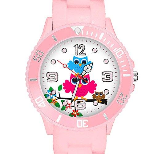 Taffstyle Kinder Armbanduhr Silikon Sportuhr Bunte Sport Uhr mit Blumen Eulen Familie Motiv Analog Quartz Small 39 mm Rosa