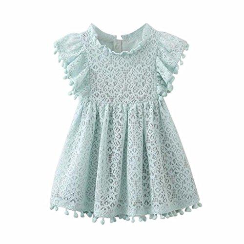 KK Baby Mädchen Blumendruck Spitze A-linie Prinzessin Hohle Kleid Crewneck Ärmellos Blumenmädchenkleid Party Kleid Sommerkleid T-shirt Kleid Abendkleid (Hellblau, 24M (100CM)) (Party-stadt, Kleinkind)