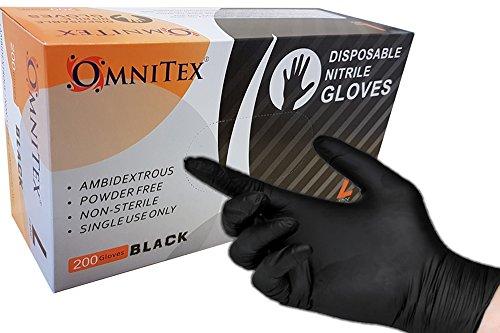 boite-de-200-omnitex-en-nitrile-sans-poudre-gants-noir-ambidextre-dexamen-non-steriles