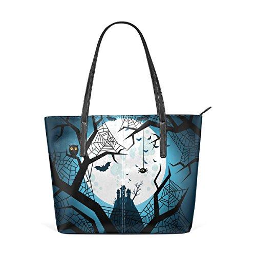 COOSUN Halloween Fledermäuse fliegen Nacht PU Leder Schultertasche Handtasche und Handtaschen Tasche für Frauen