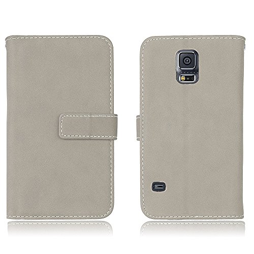 Cozy Hut Samsung Galaxy S5 Leder Tasche Flip Handyhülle Case Standfunktion Kartenfach Magnetverschluß 9 Card Holder TPU Stoßstange Wallet Schutzhülle für Samsung Galaxy S5 - Grau matt