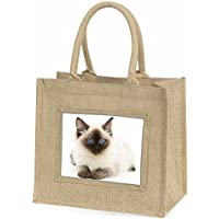 Ragdoll Cat with Blue Eyes Large Natural Jute Shopping Bag Christmas Gift Idea